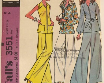 Vintage 70s Sewing Pattern, Misses Tunic and Pants, Size 12, Bust 34