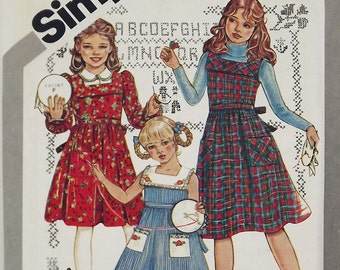 Vintage 80s Sewing Pattern, Girls Dress or Jumper, Size 7