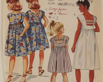 Vintage 80s Sewing Pattern, Girls Dress, Size 8