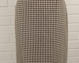 On Sale - Vintage 80's Pencil Skirt, Brown and White, Size 6