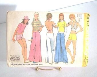 Vintage 70s Sewing Pattern, Hip Hugger Pants-Shorts -Halter Tops-Size 10