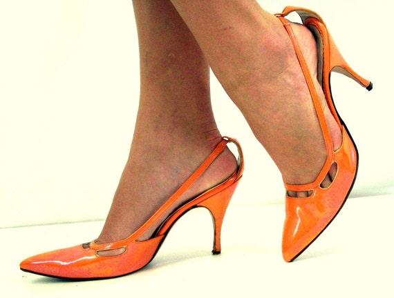 Vintage 50's Stiletto Shoes, Carrot Orange, QualiCraft