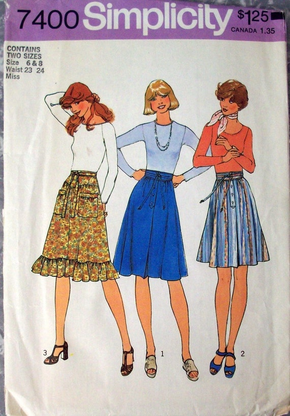 Vintage Simplicity Pattern 7400 for Misses Skirts - Size 6 and 8