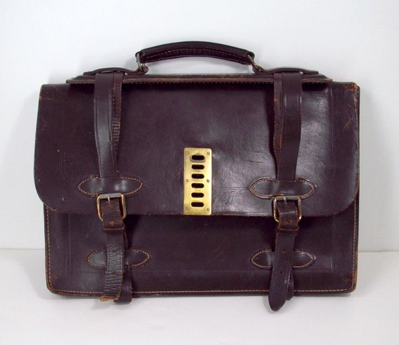 1940's Government Briefcase in Dark Brown