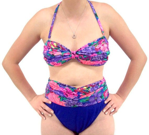 Vintage 80's Swimsuit, Two Piece Bathing Suit Size 12,  Catalina