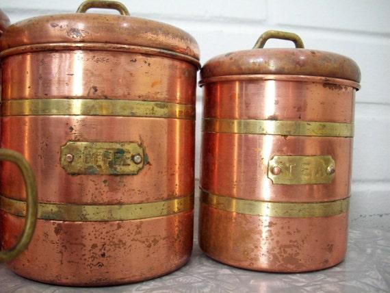 Vintage Copper Canister Set, 1950's