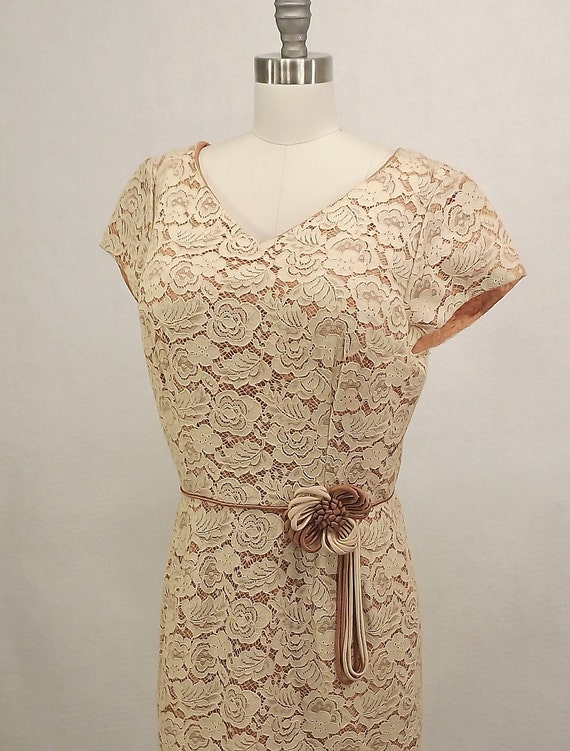 Vintage 60's Cocktail Dress, Cream Lace Over Lay with Ribbing Flowerette at Waist