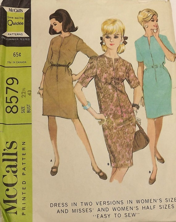 Vintage 60s Sewing Pattern, Dress in Two Versions, Size 22 1/2, Bust 43