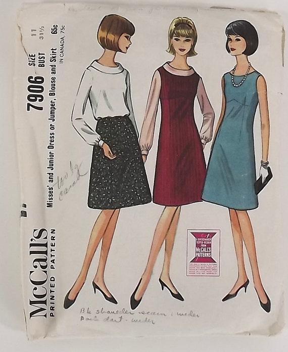 Vintage 60s Sewing Pattern, Misses/Junior Dress, Blouse, Skirt, Size 11, Bust 31 1/2