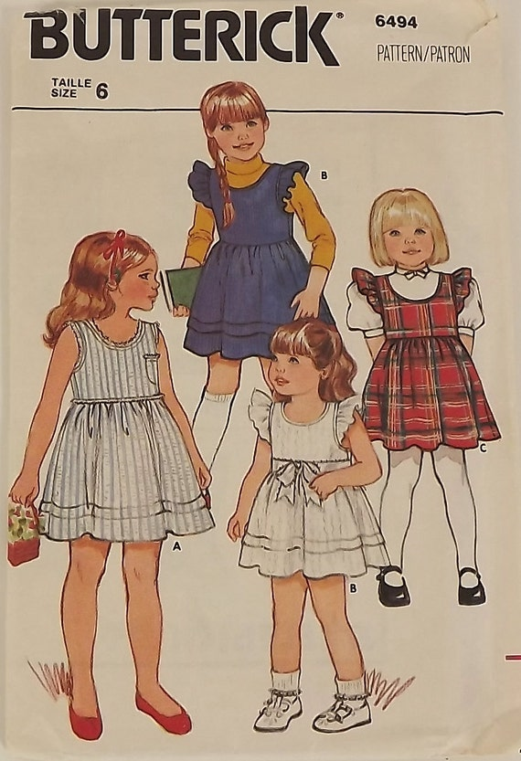 Vintage 80s Sewing Pattern, Girl Dress and Jumper, Size 6