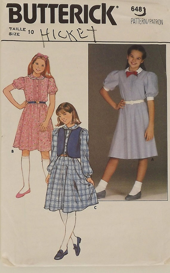 Vintage 80s Sewing Pattern, Girls Dress and Vest, Size 10