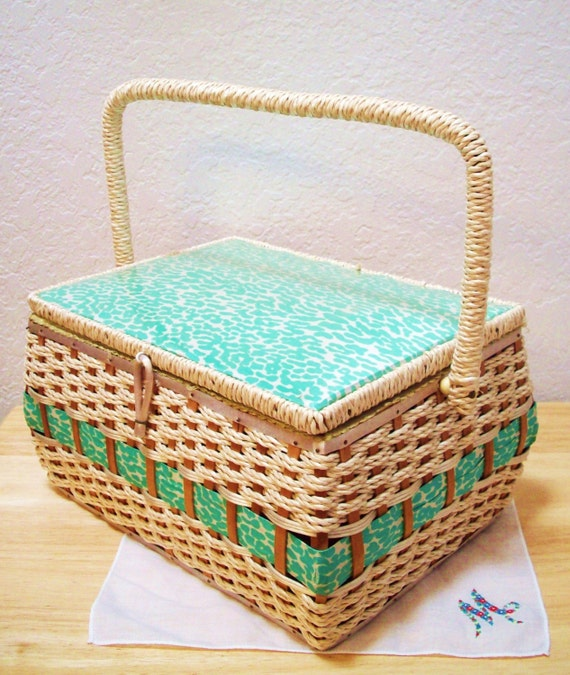Nana's Sewing Basket in Teal Print