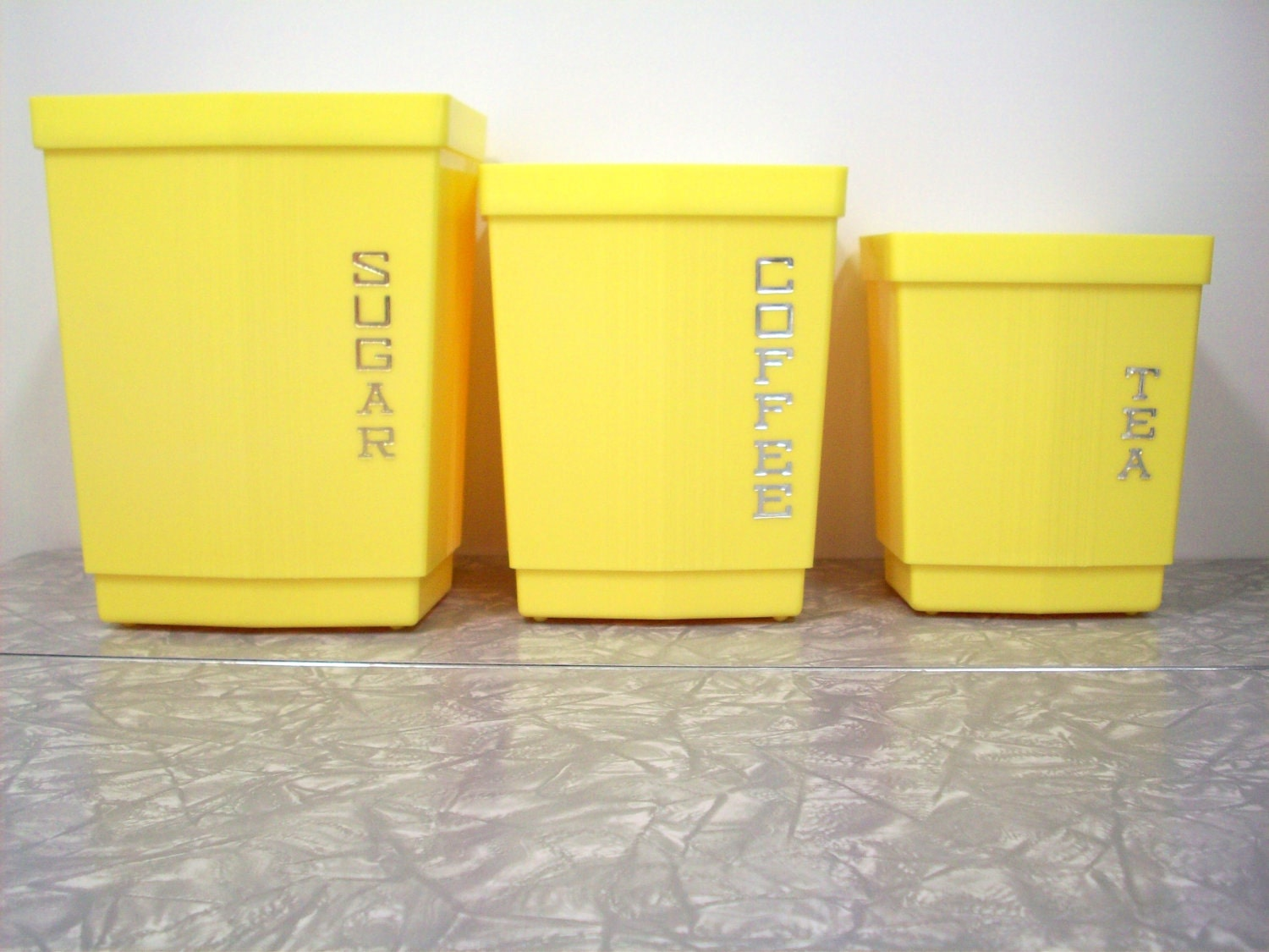 Vintage canister set lemon yellow 3 piece for Kitchen set yellow