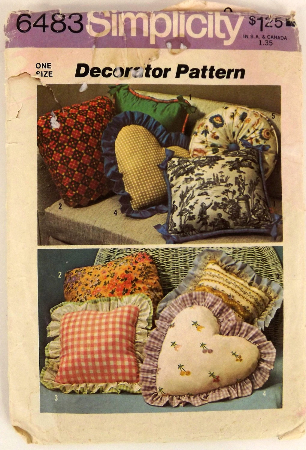 Vintage 70s Sewing Pattern Throw Pillows Five Styles
