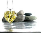 Yellow and Gold Glass Pendant made with a Pearle Doodle with Silver Chain