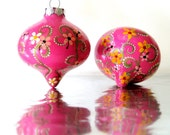 CLEARANCE Pink Ornaments: Two Hand painted Glass Ornaments