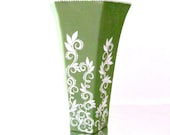 Soft Olive Green vase with white vines hand painted Vase Hexagon