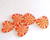 Magnets: Orange Heart Magnets set of five 5