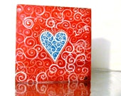 Red with Blue Heart Love small Painting