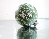 Small Glass Ornament: Green and White Swirls and Leaves Hand painted