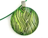 Lemon Grass Green: Round Glass Tile Pendant