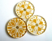 Mustard Yellow and Gold: Round Acrylic Magnet set of 3
