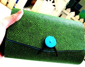 Clutch Wooden Clutch Box : Blue and Green Hand painted Upcycled wooden Box