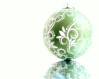 Medium Glass Ornament: Green and White Swirls and Leaves Hand painted