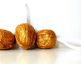 Metallic Gold Walnut Christmas Ornaments hand painted