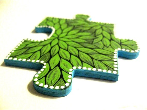Puzzle Pieces: Up-cycle Puzzle Piece pins. Wearable Art