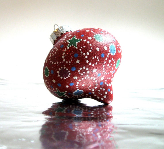 Red hand painted hollow glass ornamnet candy cane bauble