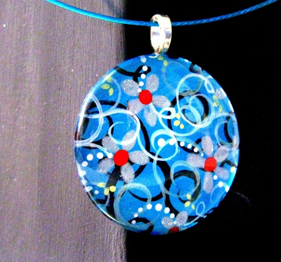 Blue and Silver Flowers Pendant by Pearle