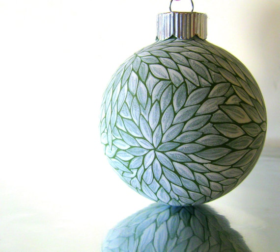 Green and White Hand painted glass ornament Small