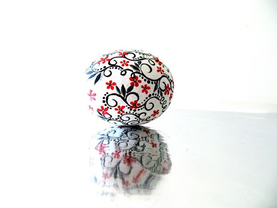 Red Black and white: Hand Painted Egg Ornament