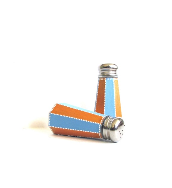 Blue and Orange Stripes: Hand painted Salt and Pepper shakers