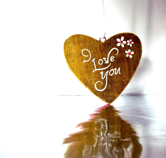 Gold Heart: Hand painted Wood Heart