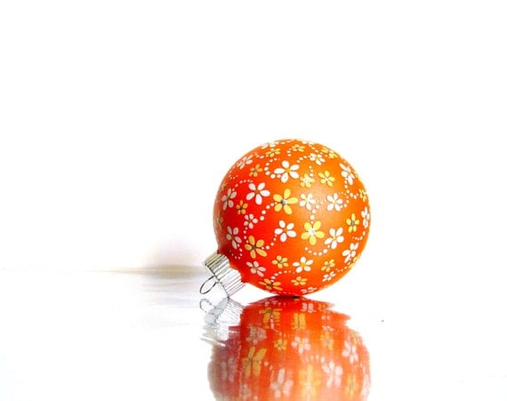 Orange with Flowers Ornament Hand Painted Glass Ornament