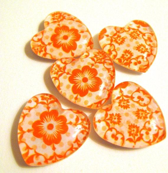 Refrigerator magnets: Orange Heart Magnets set of five 5