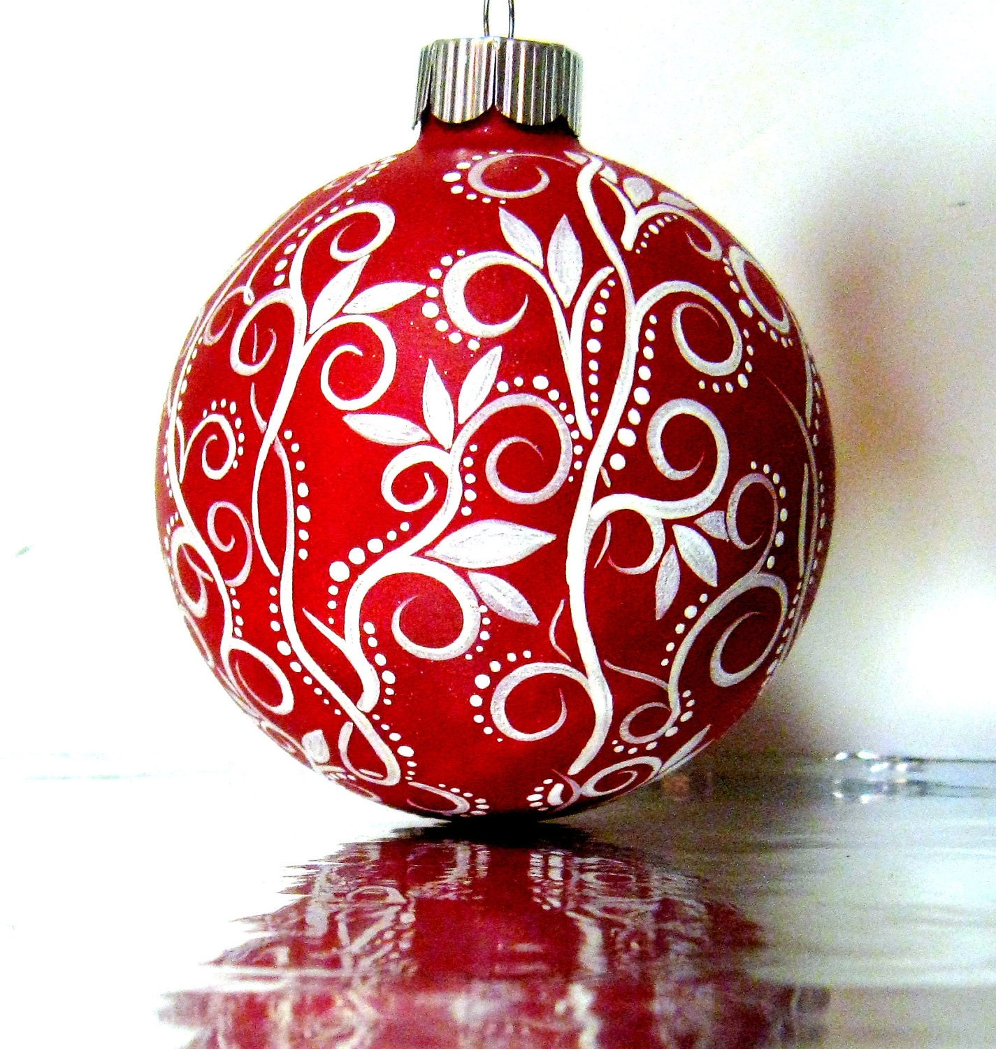 Christmas ornament red and white hand painted