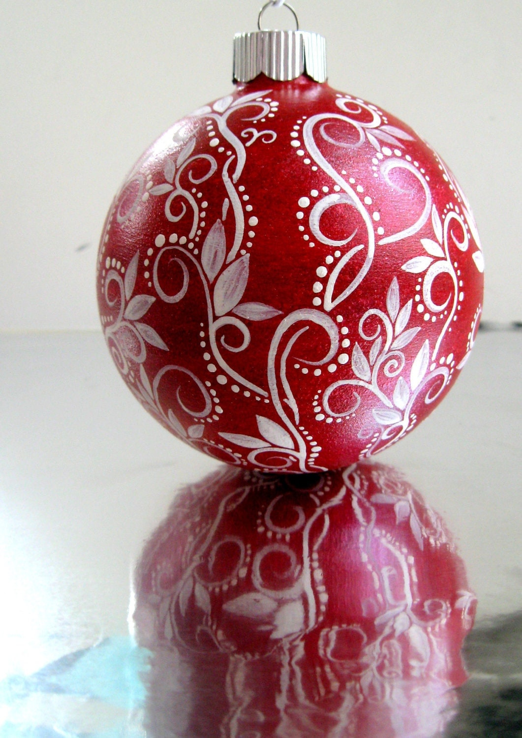 Red and white christmas ornament hand painted glass ornament for Christmas holiday ornaments