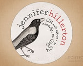 Return Address Label Sticker, Circle Envelope Seal or Wedding Favor Tag: Caw, Caw Crow