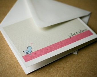Personalized Love Tweets Folded Notecards with Envelopes