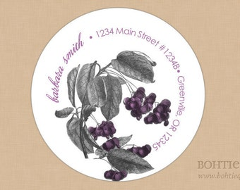 Botanical Distressed Purple Address Labels, Stickers