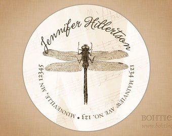 Aged Dragonfly Address Labels, Stickers