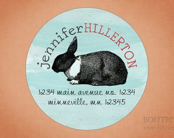 Personalized Return Address Label Sticker - Bunny Rabbit
