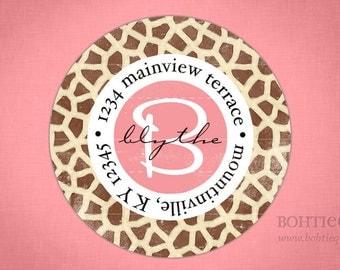 Custom return address labels, gift for her, Return to label, personalized address label, custom return label,  Giraffe Print