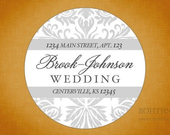 Wedding Address Labels - Damask Beauty, Select Your Colors