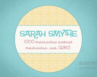 Custom return address labels with color choices, Return to label, personalized address label, custom return label,  Mellow Yellow