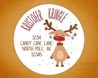 Personalized Christmas Return Address Label Sticker - Kristofer the Reindeer