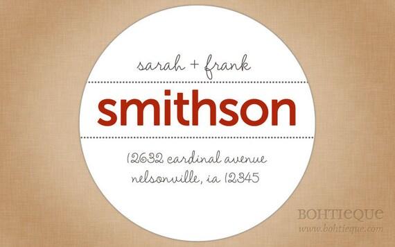 Initial VIII Address Label, Shop Sticker, Gift Tags